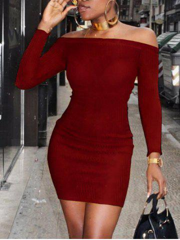 Hot Off The Shoulder Ribbed Bodycon Sweater Dress
