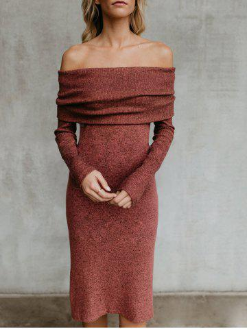 Sale Off The Shoulder Back Slit Sweater Dress