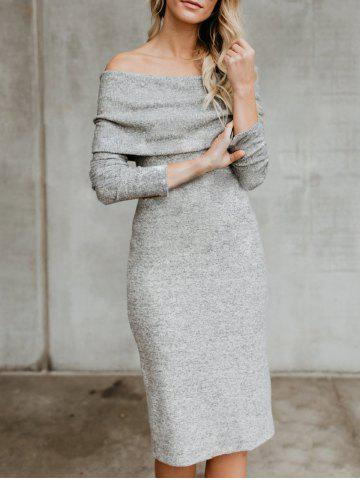 New Off The Shoulder Back Slit Sweater Dress