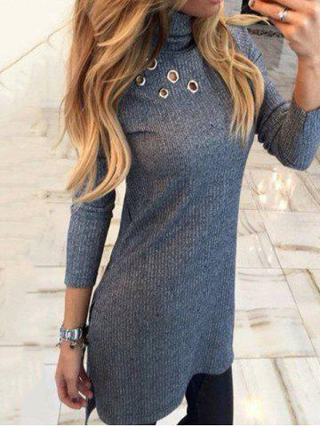 Trendy Turtleneck High Low Sweater Dress