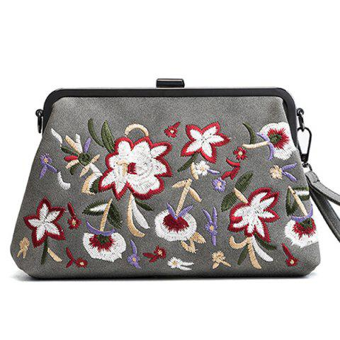 Trendy PU Leather Flower Embroidery Clutch Bag