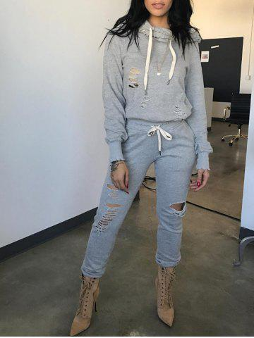 Chic Ripped Drawstring Sweatshirt and Drawstring Waist Pants