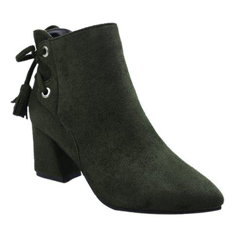Tassels Side Zip Block Heel Ankle Boots