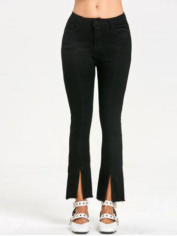 Fashion Zipper Fly Frayed Slit Jeans