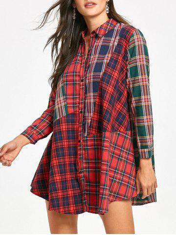 Button Up Plaid Mini Shirt Dress
