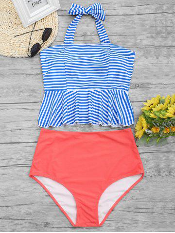 Store High Waist Striped Peplum Tankini Swimsuit