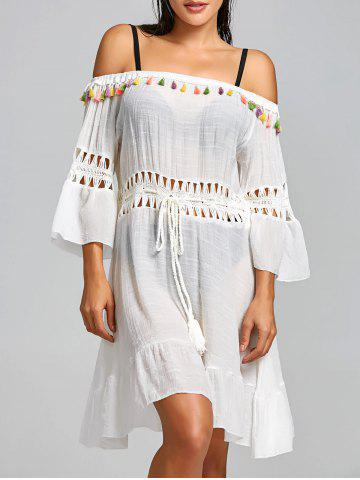 Best Crochet Insert Tassel Flounce Cover Up Dress