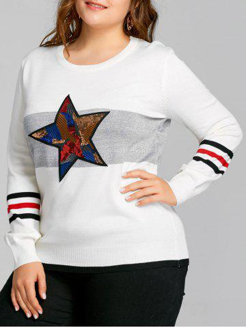 Discount Striped Sequin Star Plus Size Sweater