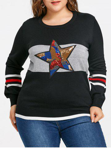 Outfits Striped Sequin Star Plus Size Sweater