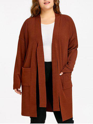 Online Side Slit Drop Shoulder Plus Size Knitted Coat