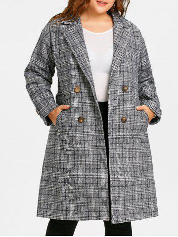 Sale Tweed Plaid Drop Shoulder Plus Size Coat