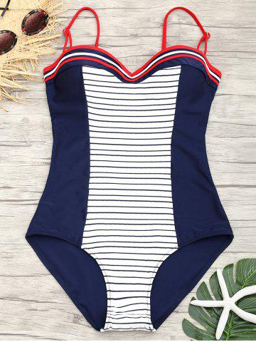 Stripe Backless Underwire Swimsuit
