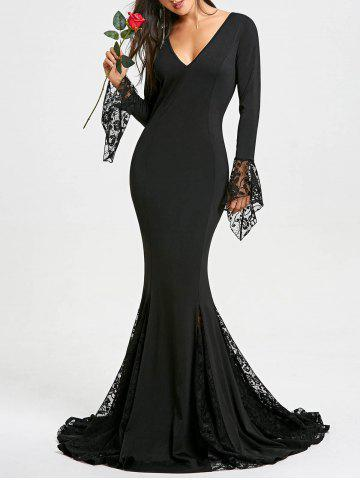 Latest Deep V Neck Lace Panel Mermaid Prom Dress