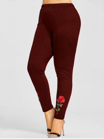 Affordable Plus Size Flower Applique Leggings