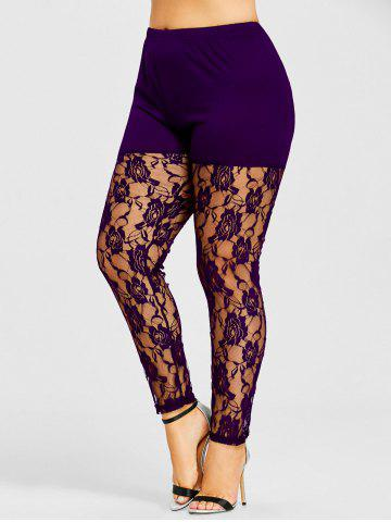Fancy Plus Size Sheer Lace Insert Leggings