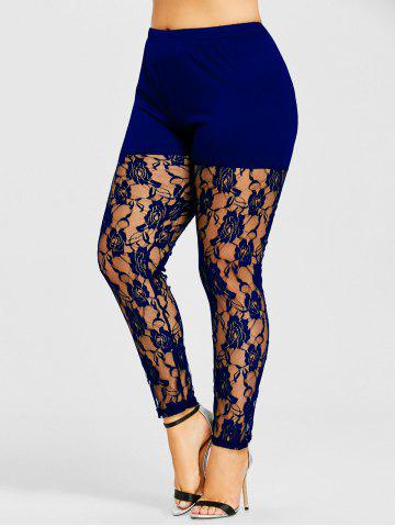 Sale Plus Size Sheer Lace Insert Leggings