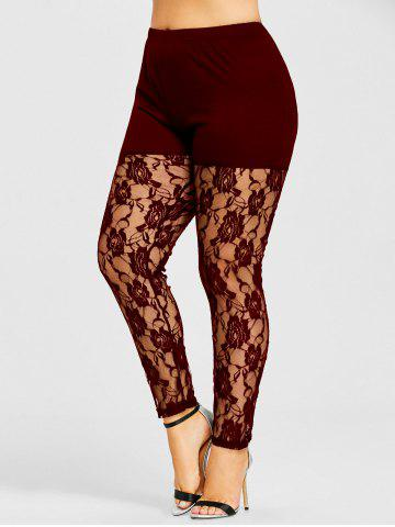 Online Plus Size Sheer Lace Insert Leggings