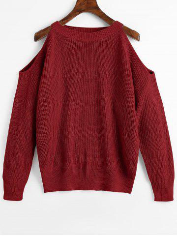 Hot Cold Shoulder Crew Neck Pullover Sweater