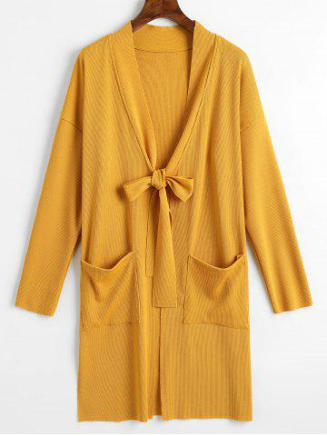 New Tied Bowknot Side Slit Longline Cardigan