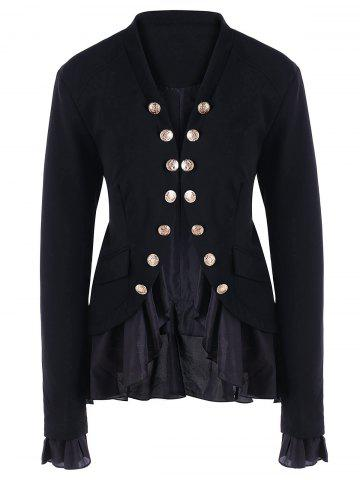Chic Chiffon Trimmed Buttons Jacket