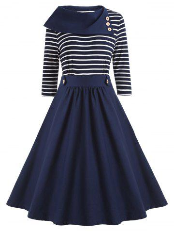 Discount High Waist Vintage Striped A Line Dress