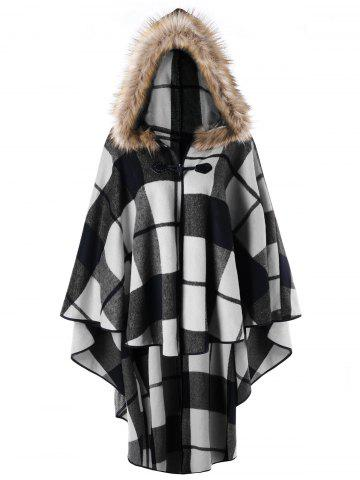 Affordable Plus Size High Low Plaid Hooded Cloak