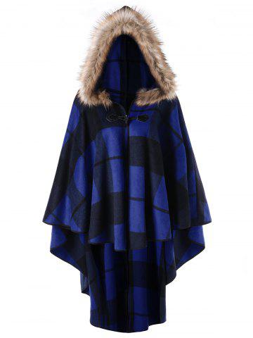 Cheap Plus Size High Low Plaid Hooded Cloak