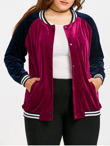 Best Plus Size Raglan Sleeve Velvet Baseball Jacket