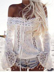 Off Shoulder Openwork Lace Blouse -