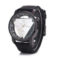 Canvas Strap Triangle Shape Hollow Out Watch -