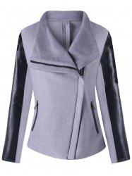 PU Leather Panel Turndown Collar Zipped Jacket -