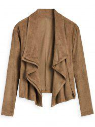 Faux Suede Zipper Embellished Jacket -