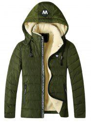 Detachable Hooded Fleece Padded Zip Up Jacket -