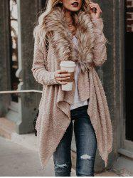 Faux Fur Neck Asymmetrical Coat -