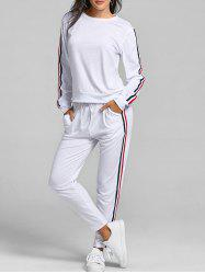Striped Sweat Suits - White - L
