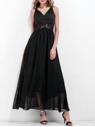 V Neck Lace Panel Chiffon Dress -