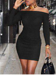 Off The Shoulder Ribbed Bodycon Sweater Dress -