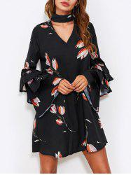 Layered Sleeve Floral Printed Dress -