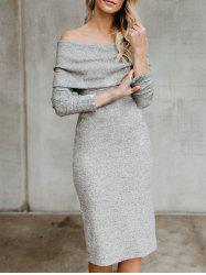 Off The Shoulder Back Slit Sweater Dress -