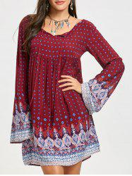 Tribal Print Bell Sleeve Mini Dress -
