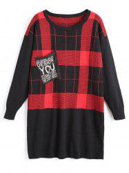 Plus Size Plaid Tunic Sweater with FrontPocket -