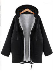 Plus Size Long Sleeve Zipper Coat -