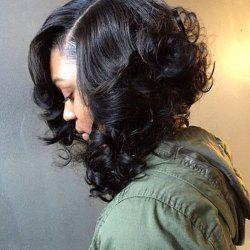 Medium Side Parting Fluffy Curly Synthetic Wig -