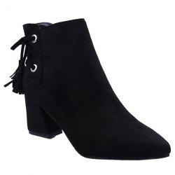 Tassels Side Zip Block Heel Ankle Boots -