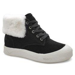 Round Toe Faux Fur High Top Skate Shoes -
