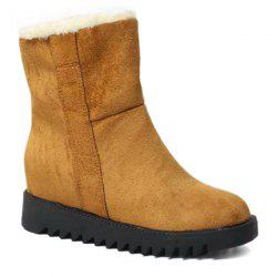 Hidden Wedge Faux Fur Lining Ankle Boots -