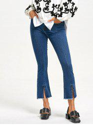 Zipper Fly Frayed Slit Jeans -
