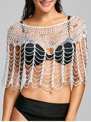 Rhinestone Crochet Beach Cover Up -