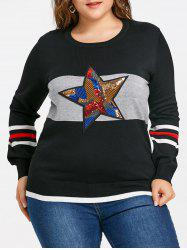 Striped Sequin Star Plus Size Sweater -