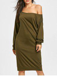 Long Sleeve Skew Collar Sweatshirt Dress -